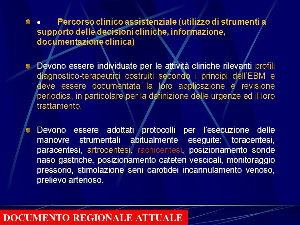 Qualificazione dei processi diagnostico-terapeutici e assistenziali Sono stati identificati quali percorsi critici: lingresso del paziente in U.O. il