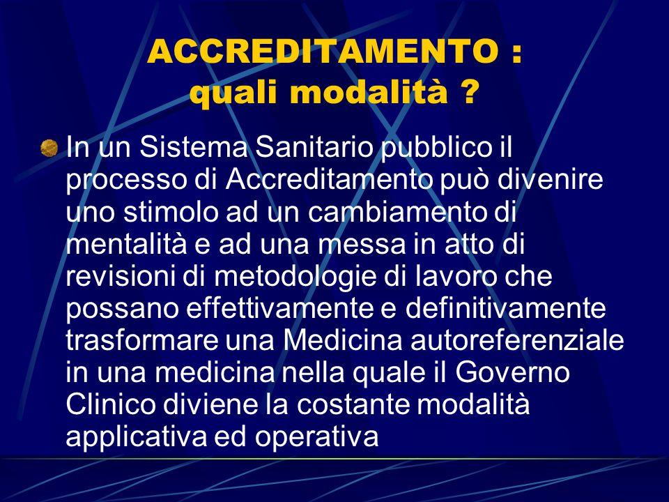 ACCREDITAMENTO : quali modalità ? Devono essere preliminarmente definiti gli standard Requisiti strutturali Requisiti tecnologici Requisiti organizzat
