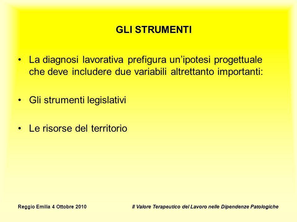 Il Valore Terapeutico del Lavoro nelle Dipendenze PatologicheReggio Emilia 4 Ottobre 2010Il Valore Terapeutico del Lavoro nelle Dipendenze Patologiche