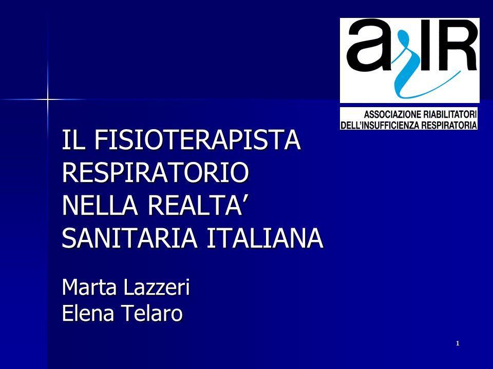 1 IL FISIOTERAPISTA RESPIRATORIO NELLA REALTA SANITARIA ITALIANA Marta Lazzeri Elena Telaro