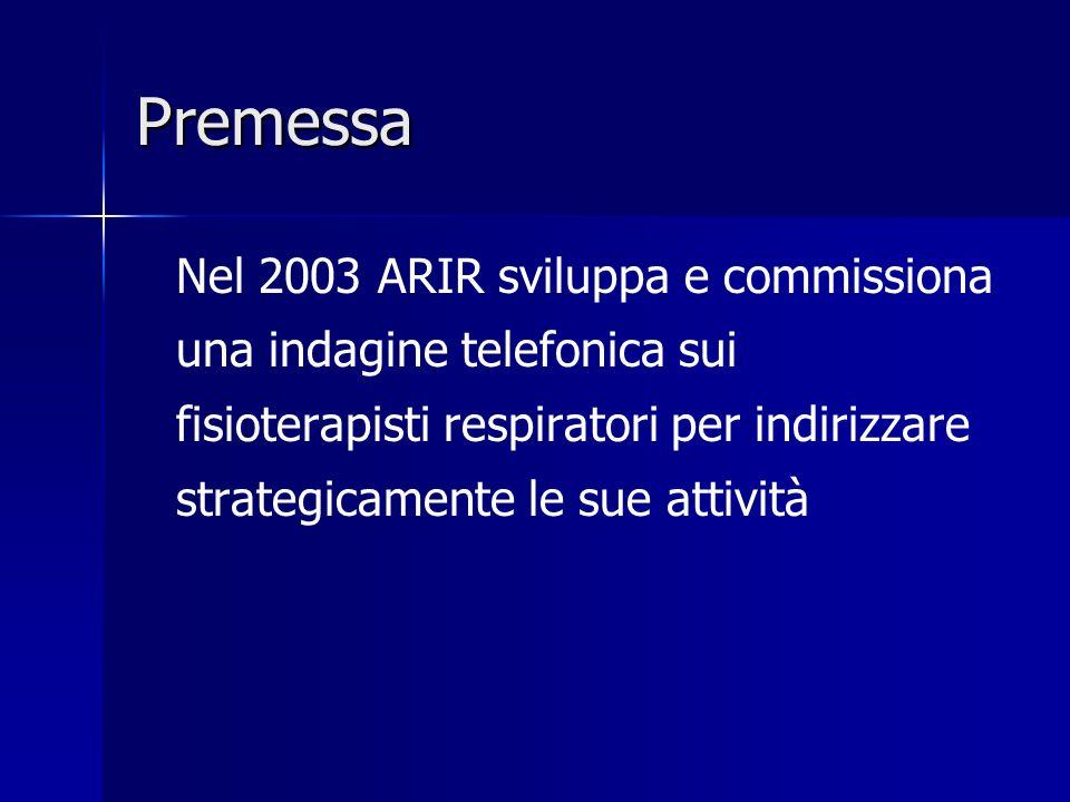 Premessa Nel 2003 ARIR sviluppa e commissiona una indagine telefonica sui fisioterapisti respiratori per indirizzare strategicamente le sue attività