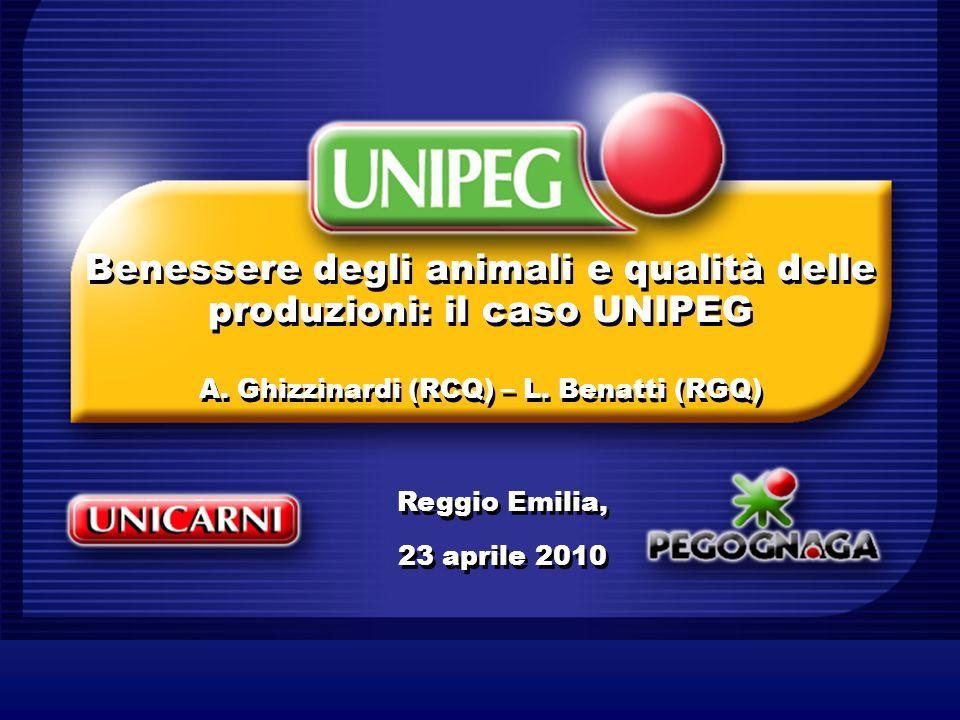 Benessere degli animali e qualità delle produzioni: il caso UNIPEG A. Ghizzinardi (RCQ) – L. Benatti (RGQ) Reggio Emilia, 23 aprile 2010