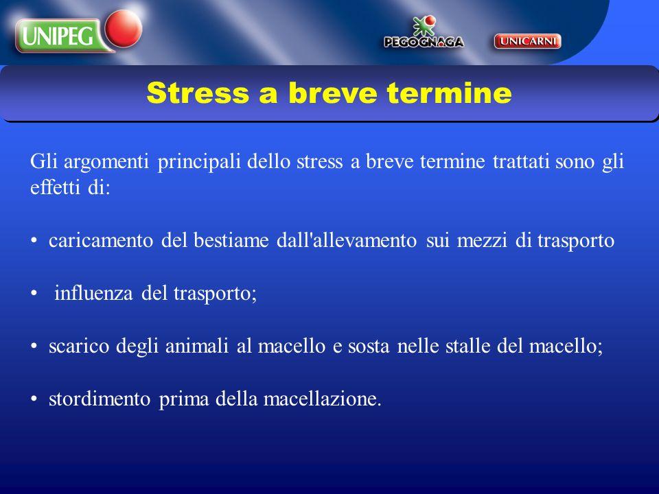 Gli argomenti principali dello stress a breve termine trattati sono gli effetti di: caricamento del bestiame dall'allevamento sui mezzi di trasporto i