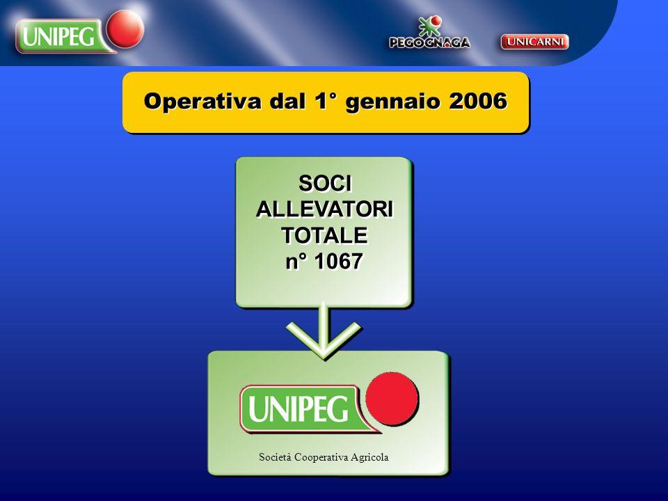 Operativa dal 1° gennaio 2006 SOCI ALLEVATORI TOTALE n° 1067 SOCI ALLEVATORI TOTALE n° 1067 Società Cooperativa Agricola