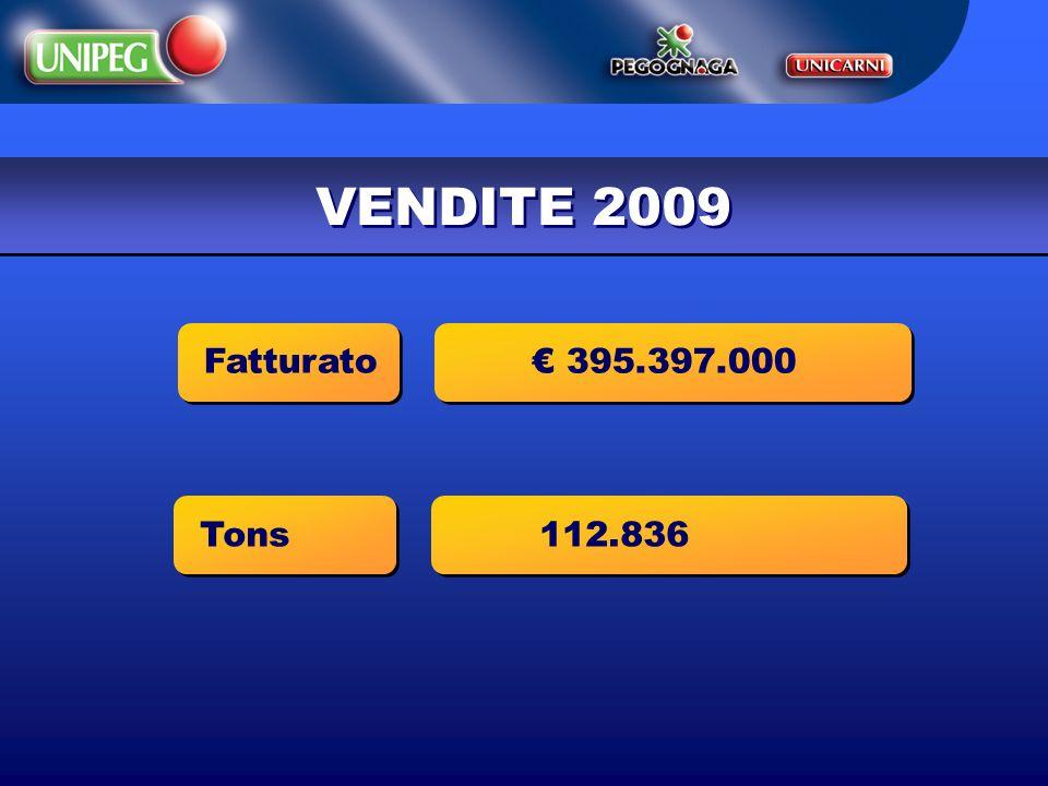 VENDITE 2009 Fatturato 395.397.000 Tons 112.836