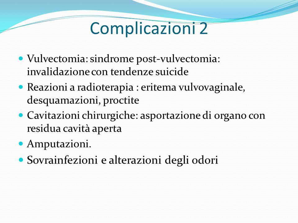 Complicazioni 2 Vulvectomia: sindrome post-vulvectomia: invalidazione con tendenze suicide Reazioni a radioterapia : eritema vulvovaginale, desquamazi