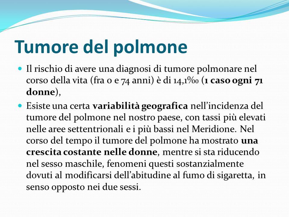 Tumore del polmone Il rischio di avere una diagnosi di tumore polmonare nel corso della vita (fra 0 e 74 anni) è di 14,1 (1 caso ogni 71 donne), Esist