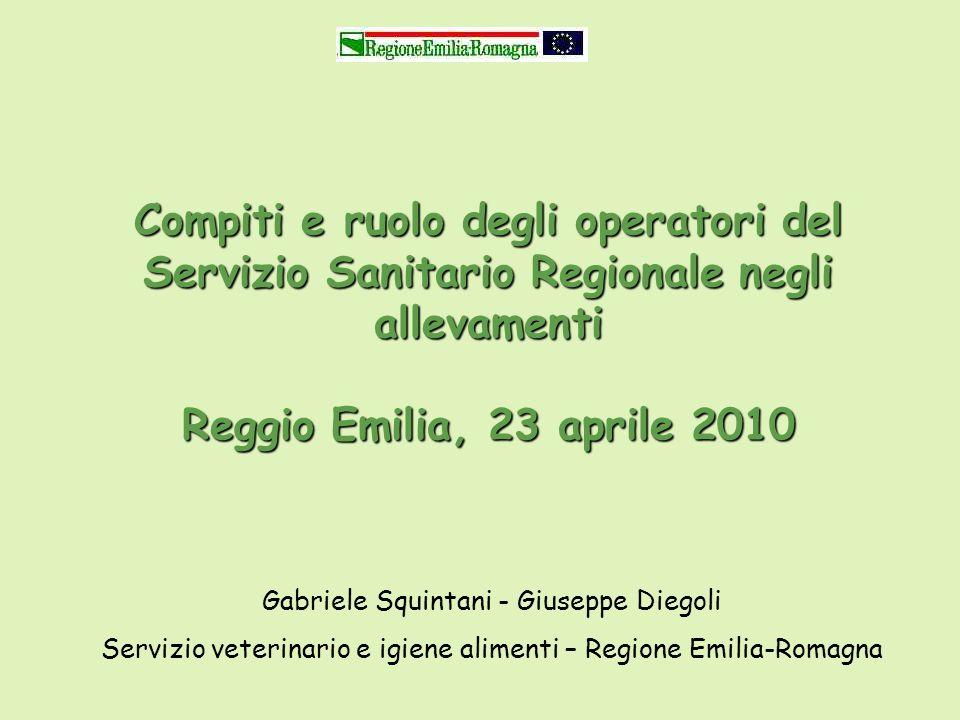 Compiti e ruolo degli operatori del Servizio Sanitario Regionale negli allevamenti Reggio Emilia, 23 aprile 2010 Gabriele Squintani - Giuseppe Diegoli