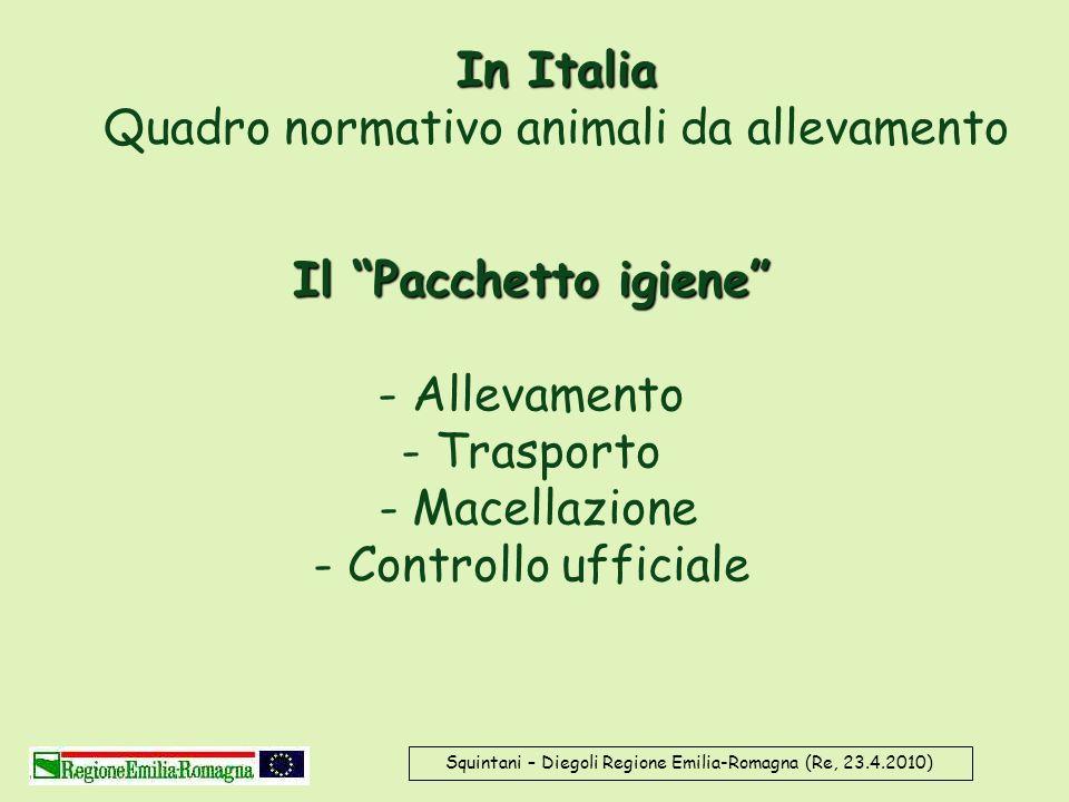 In Italia In Italia Quadro normativo animali da allevamento Squintani – Diegoli Regione Emilia-Romagna (Re, 23.4.2010) Il Pacchetto igiene Il Pacchett