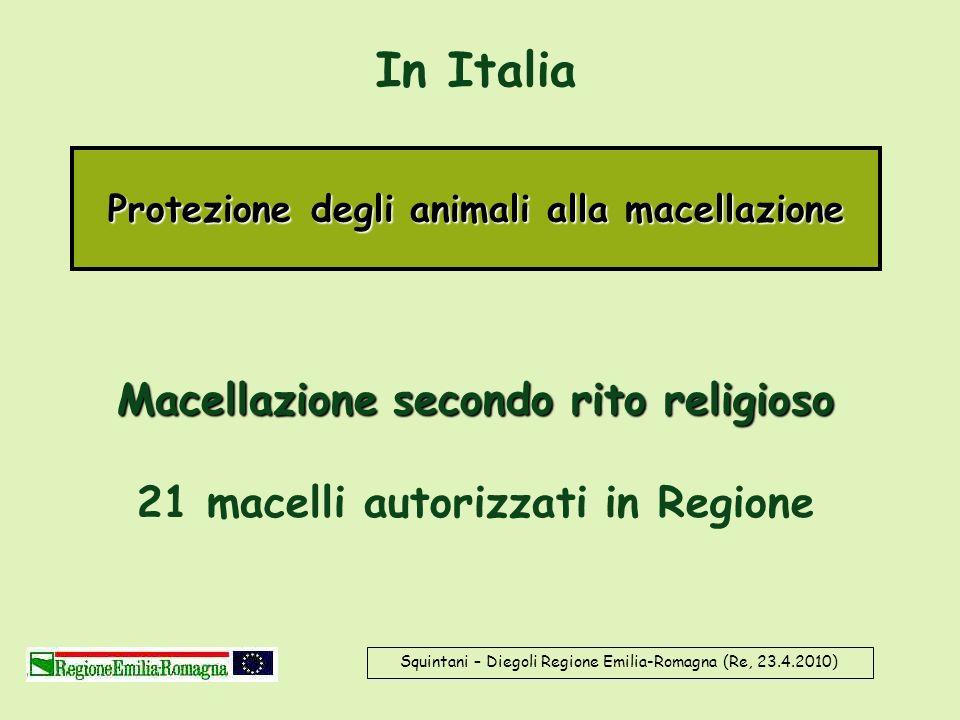 In Italia Squintani – Diegoli Regione Emilia-Romagna (Re, 23.4.2010) Protezione degli animali alla macellazione Macellazione secondo rito religioso Ma