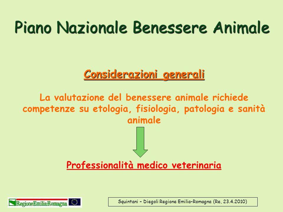 Piano Nazionale Benessere Animale Considerazioni generali La valutazione del benessere animale richiede competenze su etologia, fisiologia, patologia