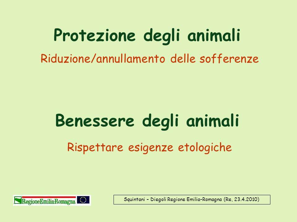 Protezione degli animali Benessere degli animali Riduzione/annullamento delle sofferenze Rispettare esigenze etologiche Squintani – Diegoli Regione Em