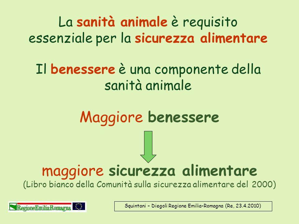 La sanità animale è requisito essenziale per la sicurezza alimentare Il benessere è una componente della sanità animale Maggiore benessere maggiore si