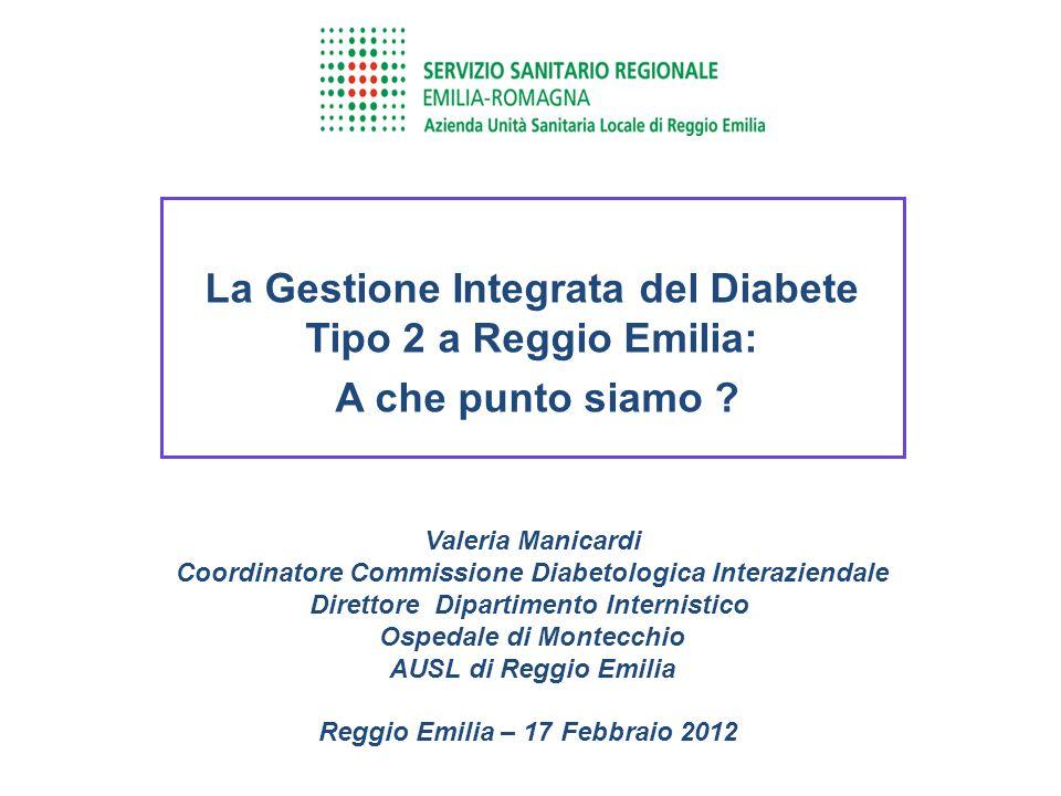La Gestione Integrata del Diabete Tipo 2 a Reggio Emilia: A che punto siamo ? Valeria Manicardi Coordinatore Commissione Diabetologica Interaziendale