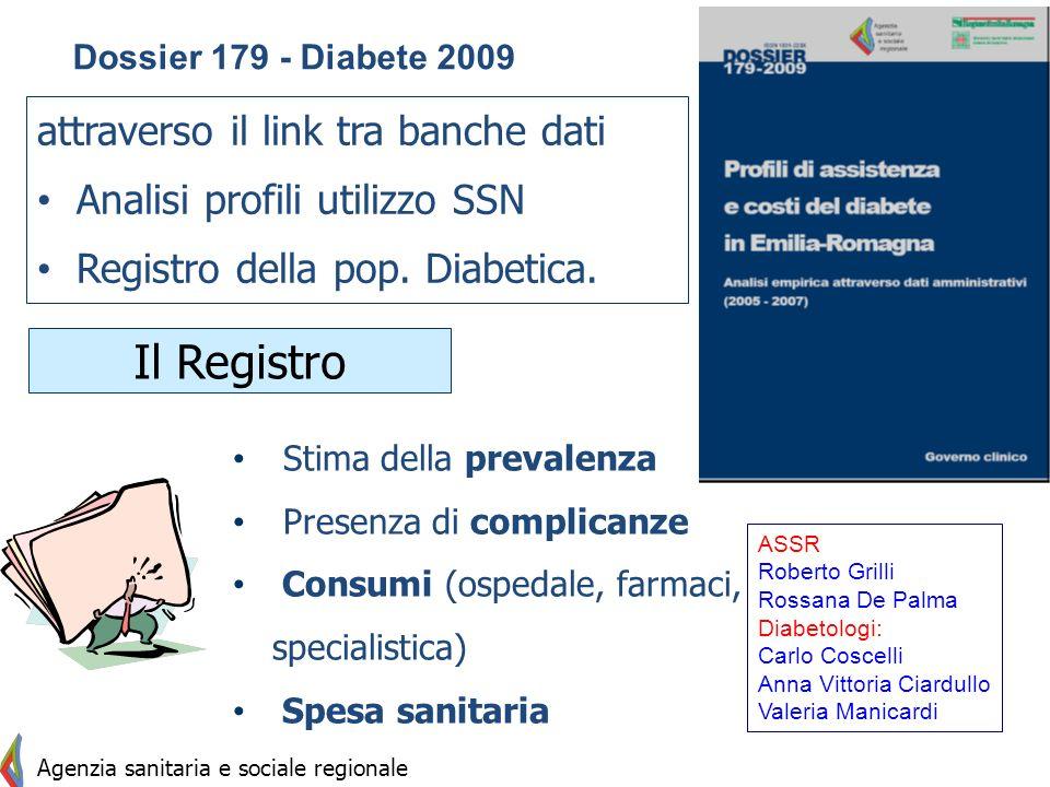 Il Registro attraverso il link tra banche dati Analisi profili utilizzo SSN Registro della pop. Diabetica. Stima della prevalenza Presenza di complica