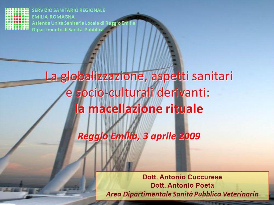 La globalizzazione, aspetti sanitari e socio-culturali derivanti: la macellazione rituale Reggio Emilia, 3 aprile 2009 Dott. Antonio Cuccurese Dott. A