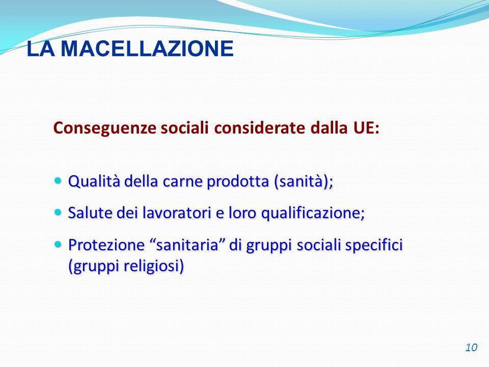 Conseguenze sociali considerate dalla UE: Qualità della carne prodotta (sanità); Qualità della carne prodotta (sanità); Salute dei lavoratori e loro q