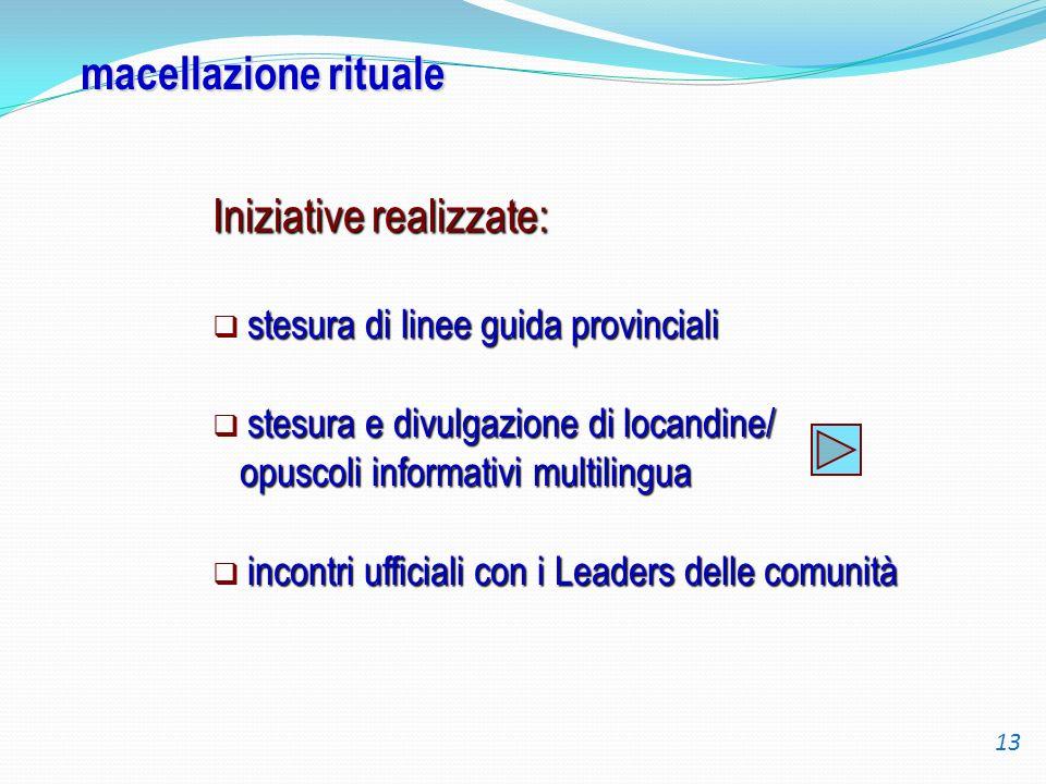 macellazione rituale Iniziative realizzate: stesura di linee guida provinciali stesura e divulgazione di locandine/ opuscoli informativi multilingua o