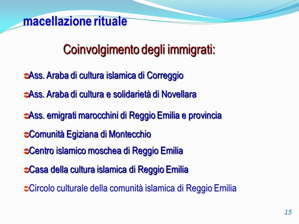 macellazione rituale Coinvolgimento degli immigrati: Ass. Araba di cultura islamica di Correggio Ass. Araba di cultura islamica di Correggio Ass. Arab