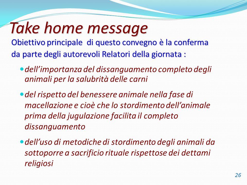 Take home message dellimportanza del dissanguamento completo degli animali per la salubrità delle carni del rispetto del benessere animale nella fase
