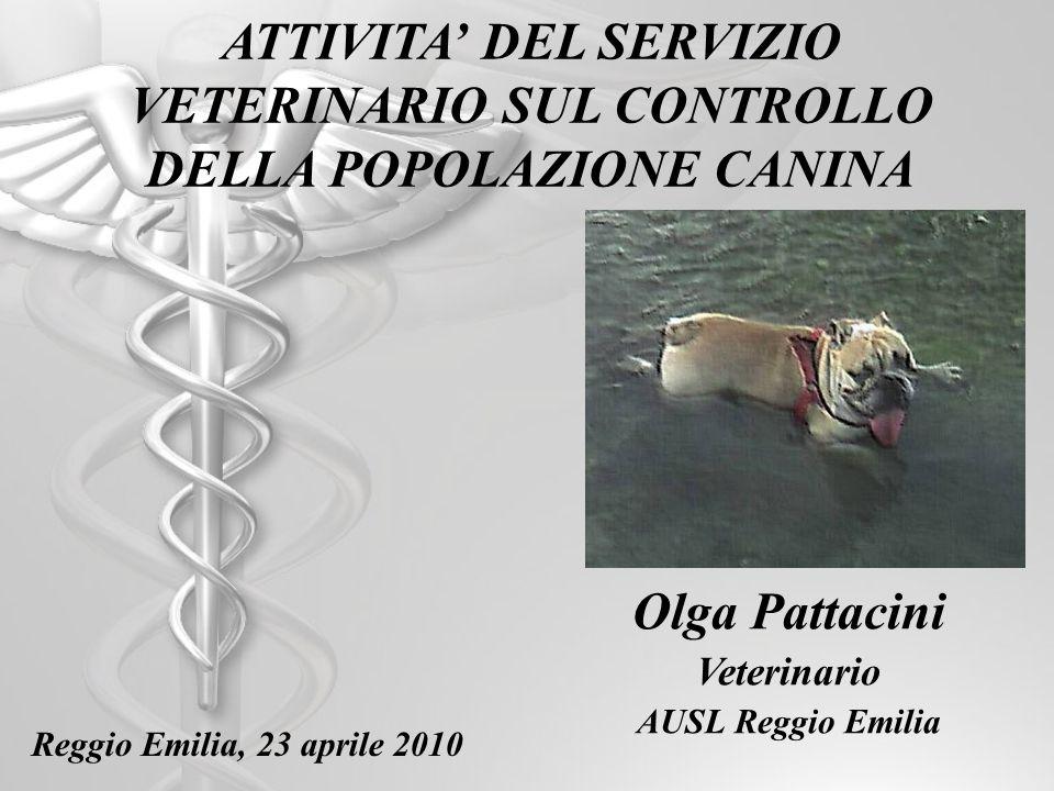 ATTIVITA DEL SERVIZIO VETERINARIO SUL CONTROLLO DELLA POPOLAZIONE CANINA Olga Pattacini Veterinario AUSL Reggio Emilia Reggio Emilia, 23 aprile 2010