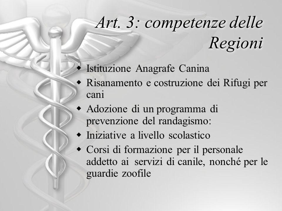 Art. 3: competenze delle Regioni Istituzione Anagrafe Canina Risanamento e costruzione dei Rifugi per cani Adozione di un programma di prevenzione del