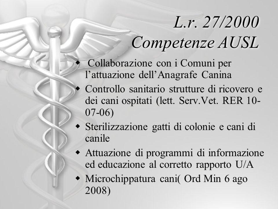 L.r. 27/2000 Competenze AUSL Collaborazione con i Comuni per lattuazione dellAnagrafe Canina Controllo sanitario strutture di ricovero e dei cani ospi