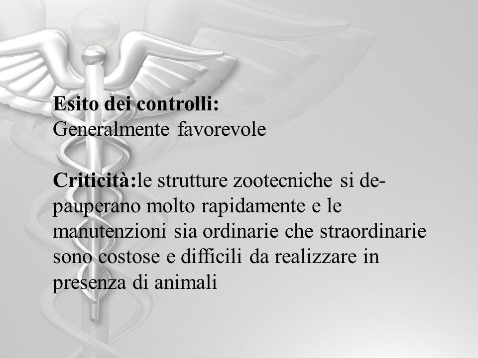 Esito dei controlli: Generalmente favorevole Criticità:le strutture zootecniche si de- pauperano molto rapidamente e le manutenzioni sia ordinarie che