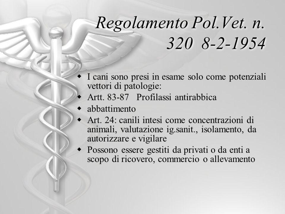 Regolamento Pol.Vet. n. 320 8-2-1954 I cani sono presi in esame solo come potenziali vettori di patologie: Artt. 83-87 Profilassi antirabbica abbattim