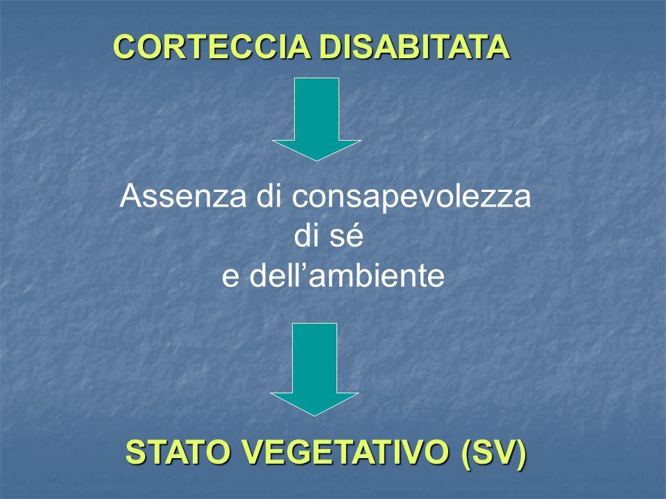 CORTECCIA DISABITATA Assenza di consapevolezza di sé e dellambiente STATO VEGETATIVO (SV)