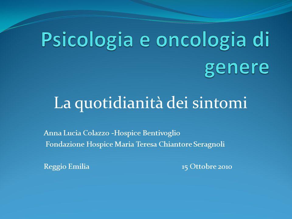 La quotidianità dei sintomi Anna Lucia Colazzo -Hospice Bentivoglio Fondazione Hospice Maria Teresa Chiantore Seragnoli Reggio Emilia 15 Ottobre 2010