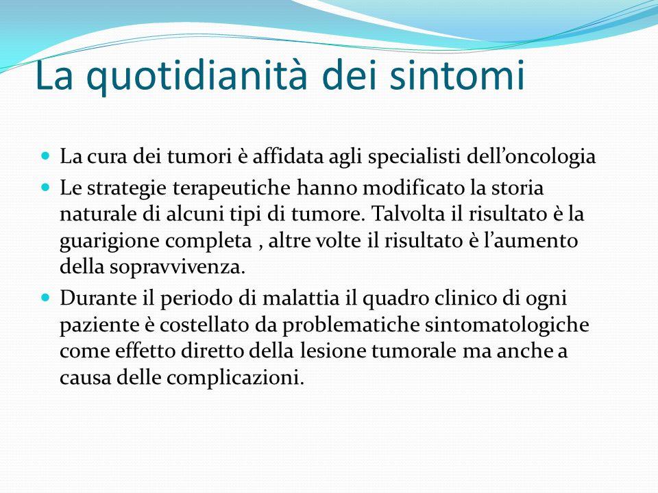 La quotidianità dei sintomi La cura dei tumori è affidata agli specialisti delloncologia Le strategie terapeutiche hanno modificato la storia naturale