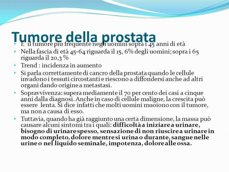 Tumore della prostata E il tumore più frequente negli uomini sopra i 45 anni di età Nella fascia di età 45-64 riguarda il 15, 6% degli uomini; sopra i