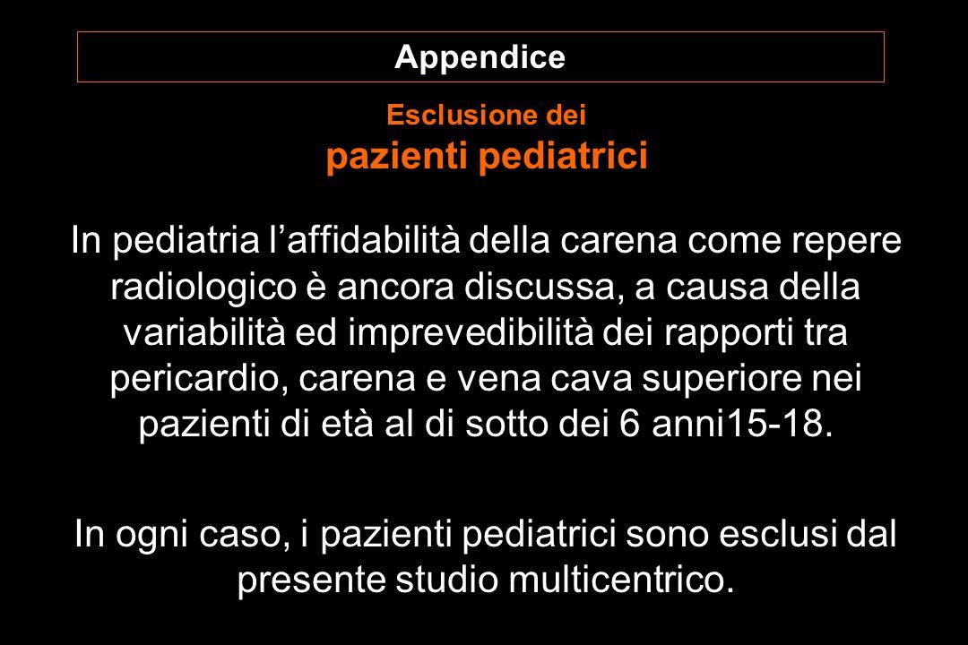 In pediatria laffidabilità della carena come repere radiologico è ancora discussa, a causa della variabilità ed imprevedibilità dei rapporti tra pericardio, carena e vena cava superiore nei pazienti di età al di sotto dei 6 anni15-18.