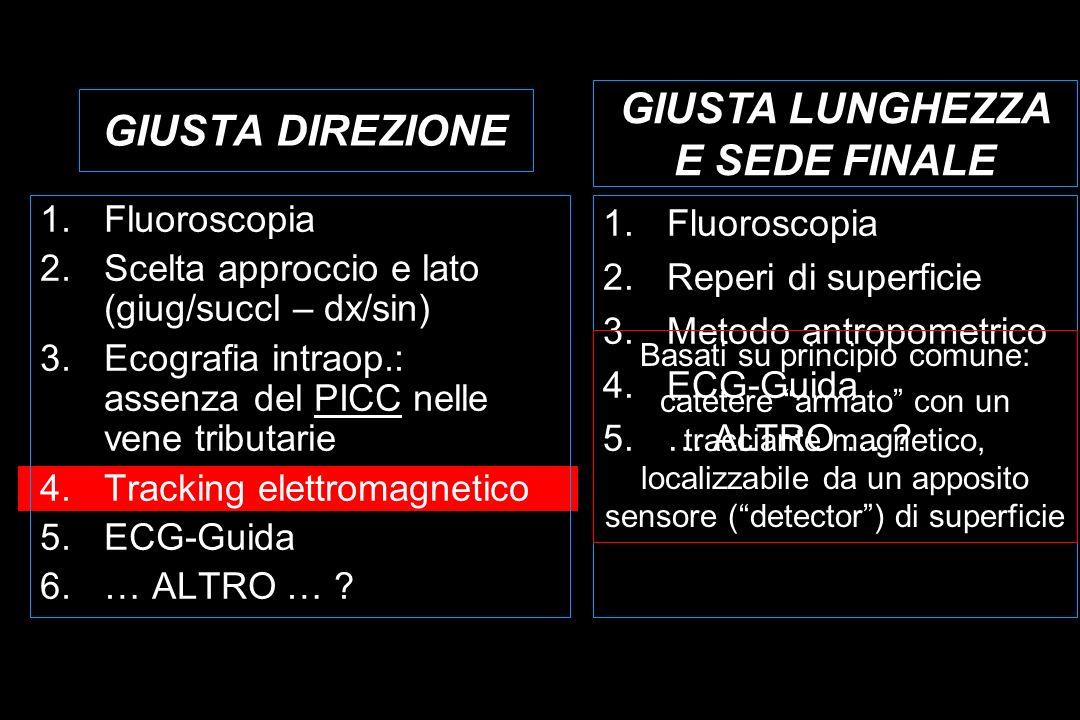 GIUSTA DIREZIONE 1.Fluoroscopia 2.Scelta approccio e lato (giug/succl – dx/sin) 3.Ecografia intraop.: assenza del PICC nelle vene tributarie 4.Tracking elettromagnetico 5.ECG-Guida 6.… ALTRO … .