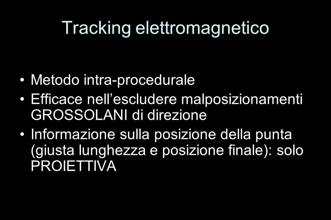 Metodo intra-procedurale Efficace nellescludere malposizionamenti GROSSOLANI di direzione Informazione sulla posizione della punta (giusta lunghezza e posizione finale): solo PROIETTIVA Tracking elettromagnetico