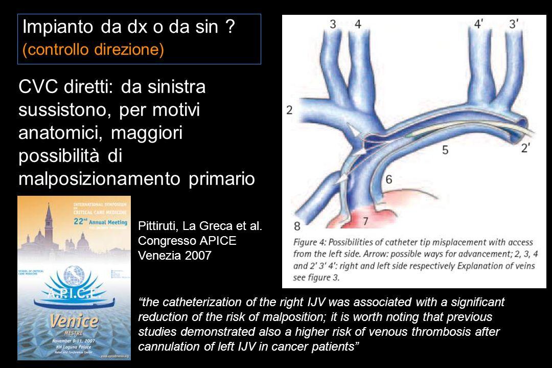 CVC diretti: da sinistra sussistono, per motivi anatomici, maggiori possibilità di malposizionamento primario Impianto da dx o da sin .