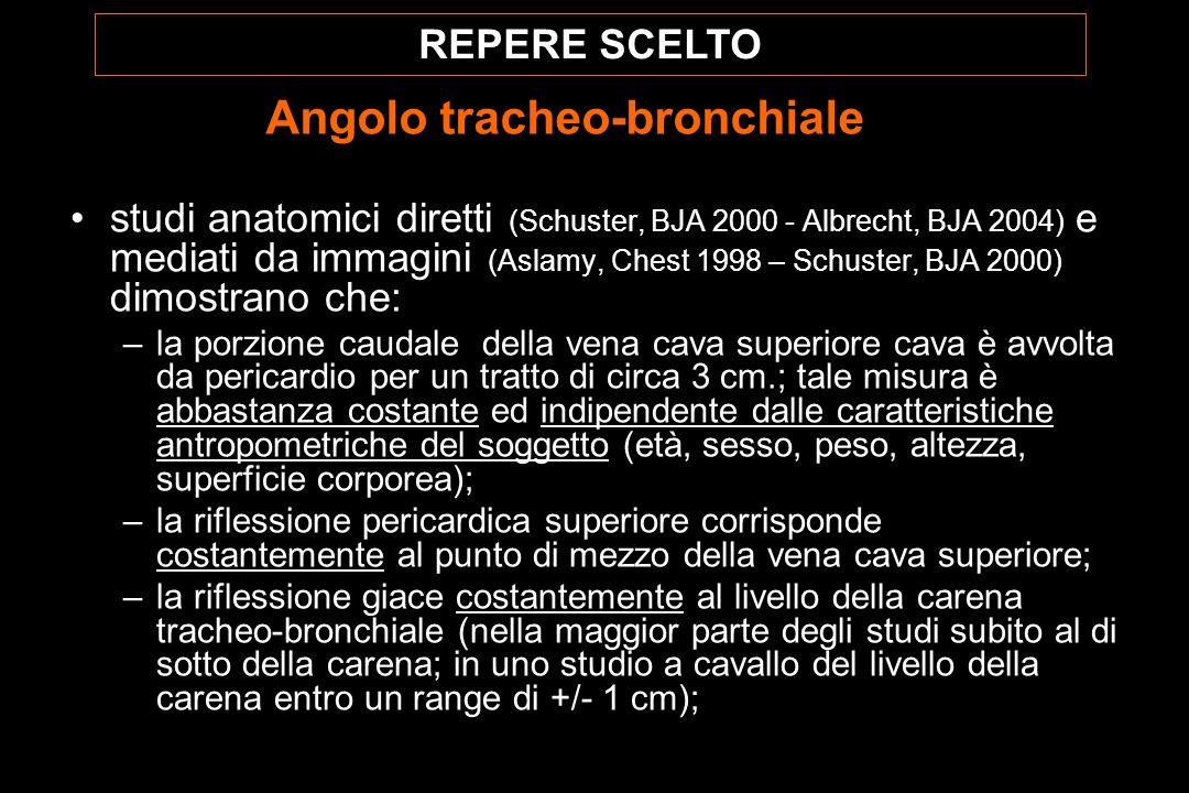 studi anatomici diretti (Schuster, BJA 2000 - Albrecht, BJA 2004) e mediati da immagini (Aslamy, Chest 1998 – Schuster, BJA 2000) dimostrano che: –la porzione caudale della vena cava superiore cava è avvolta da pericardio per un tratto di circa 3 cm.; tale misura è abbastanza costante ed indipendente dalle caratteristiche antropometriche del soggetto (età, sesso, peso, altezza, superficie corporea); –la riflessione pericardica superiore corrisponde costantemente al punto di mezzo della vena cava superiore; –la riflessione giace costantemente al livello della carena tracheo-bronchiale (nella maggior parte degli studi subito al di sotto della carena; in uno studio a cavallo del livello della carena entro un range di +/- 1 cm); REPERE SCELTO Angolo tracheo-bronchiale