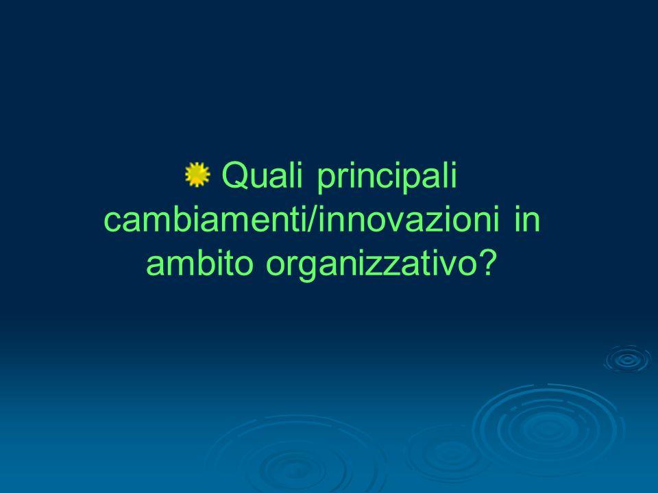 Quali principali cambiamenti/innovazioni in ambito organizzativo?