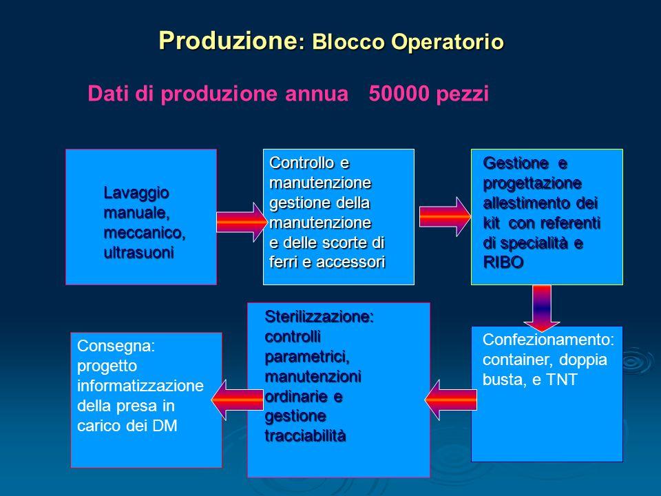 Dati di produzione annua 50000 pezzi Produzione : Blocco Operatorio lavaggio Lavaggio Lavaggio manuale, meccanico, ultrasuoni Controllo e manutenzione
