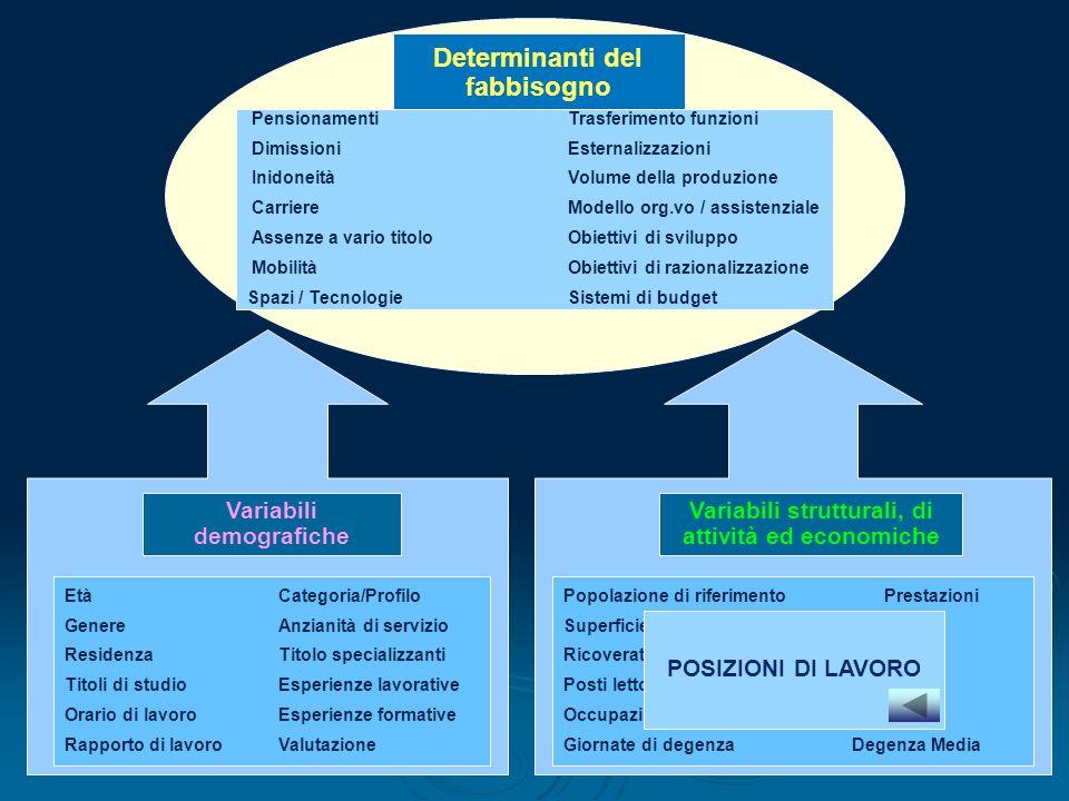 Variabili demografiche Variabili strutturali, di attività ed economiche Determinanti del fabbisogno PensionamentiTrasferimento funzioni Dimissioni Est