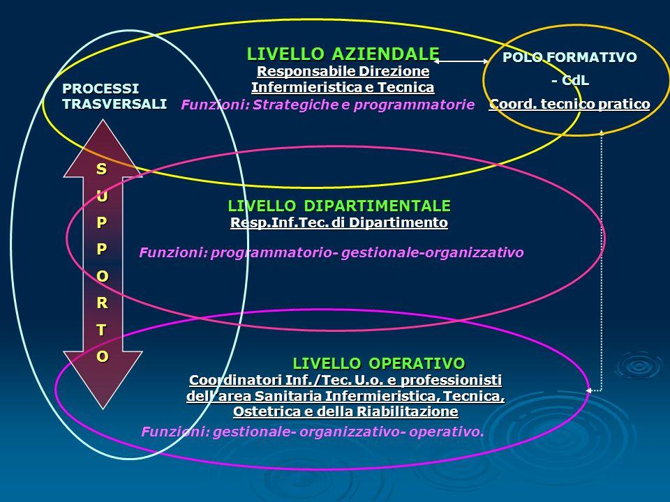 LIVELLO AZIENDALE Responsabile Direzione Infermieristica e Tecnica LIVELLO DIPARTIMENTALE Resp.Inf.Tec. di Dipartimento Funzioni: Strategiche e progra