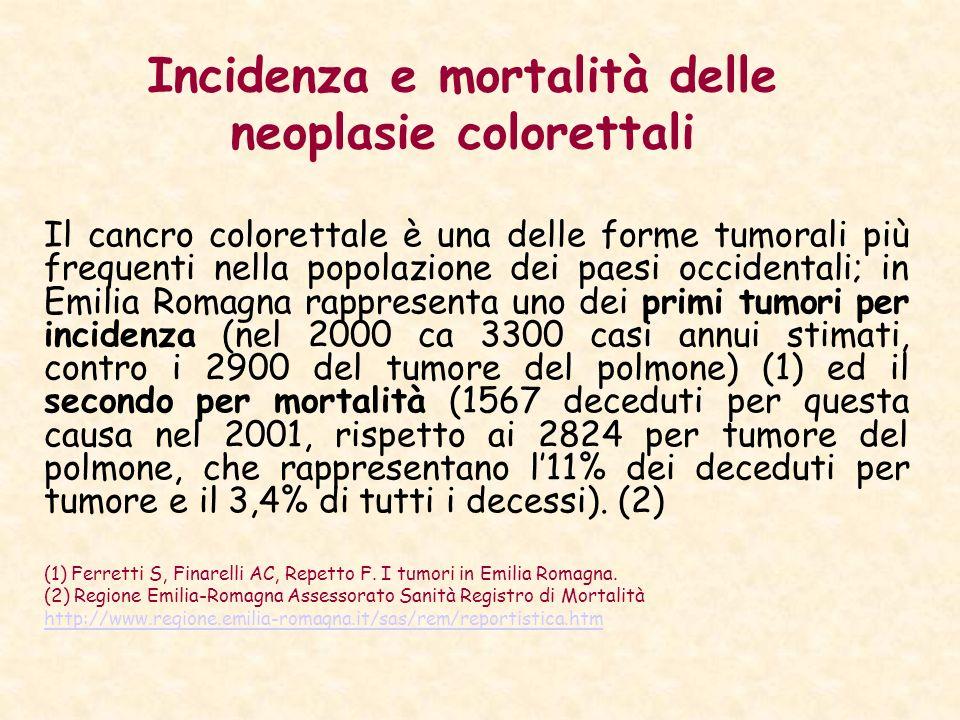 Incidenza e mortalità delle neoplasie colorettali Il cancro colorettale è una delle forme tumorali più frequenti nella popolazione dei paesi occidenta