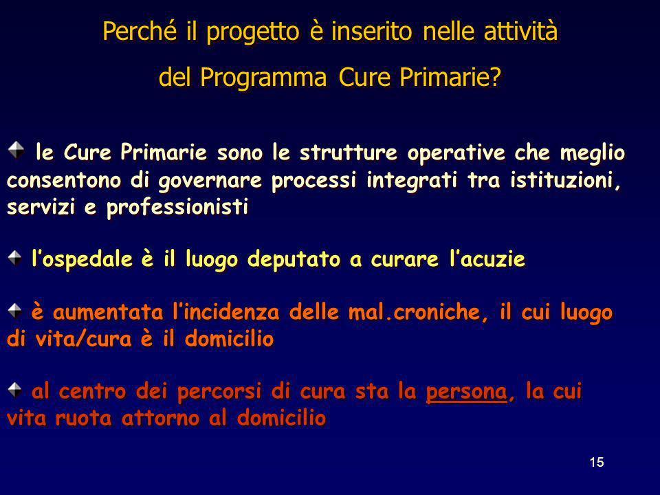 15 Perché il progetto è inserito nelle attività del Programma Cure Primarie? Perché il progetto è inserito nelle attività del Programma Cure Primarie?