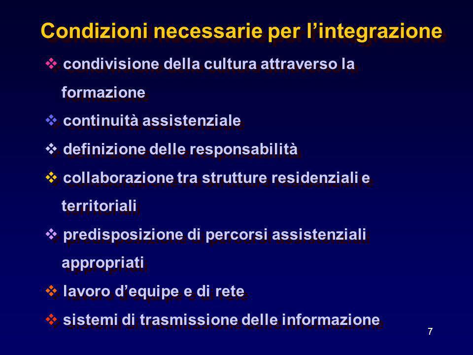 7 condivisione della cultura attraverso la formazione continuità assistenziale definizione delle responsabilità collaborazione tra strutture residenzi