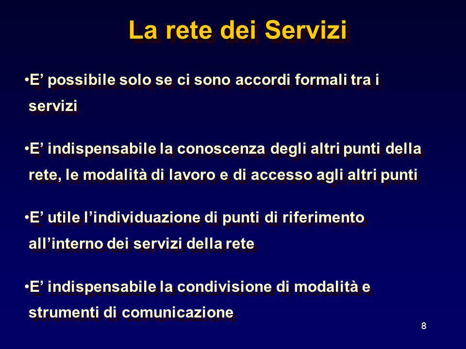 8 La rete dei Servizi La rete dei Servizi E possibile solo se ci sono accordi formali tra i servizi E indispensabile la conoscenza degli altri punti d