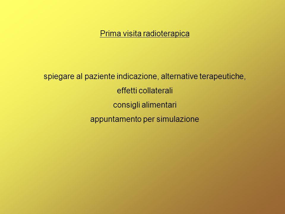Tc-simulazione (TSRM, medico, fisico) acquisizione dei parametri necessari per lesecuzione del trattamento individuazione dellisocentro e tatuaggi (per pianificazione e riproducibilità del trattamento)