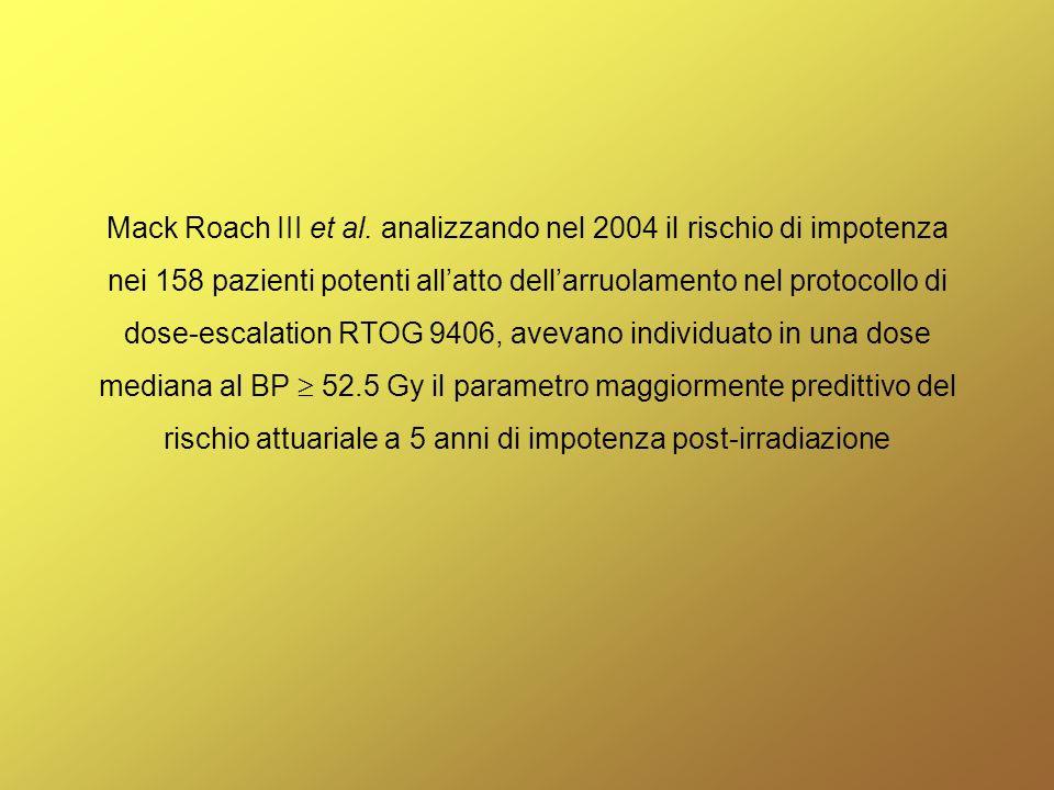Mack Roach III et al. analizzando nel 2004 il rischio di impotenza nei 158 pazienti potenti allatto dellarruolamento nel protocollo di dose-escalation
