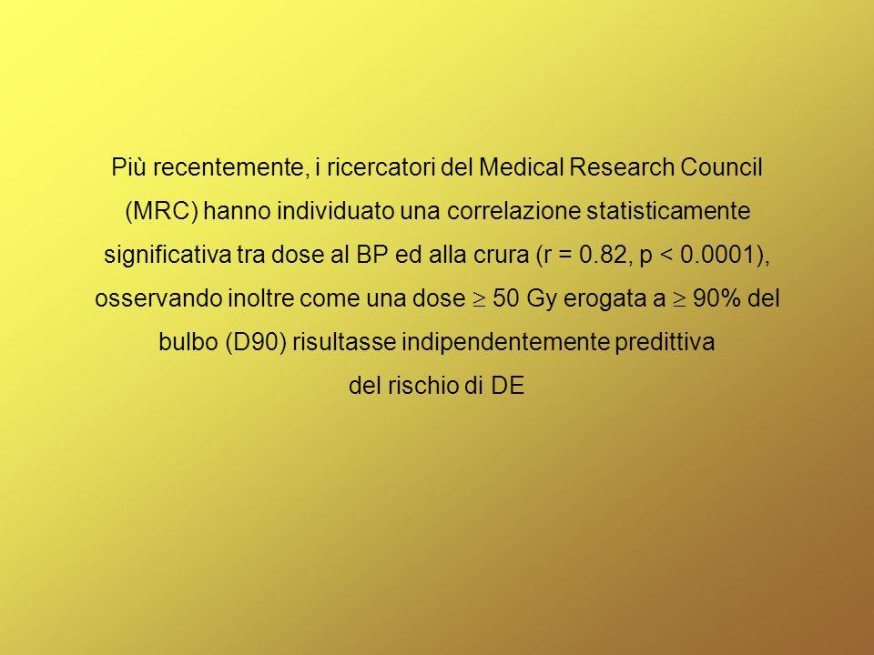 Più recentemente, i ricercatori del Medical Research Council (MRC) hanno individuato una correlazione statisticamente significativa tra dose al BP ed alla crura (r = 0.82, p < 0.0001), osservando inoltre come una dose 50 Gy erogata a 90% del bulbo (D90) risultasse indipendentemente predittiva del rischio di DE
