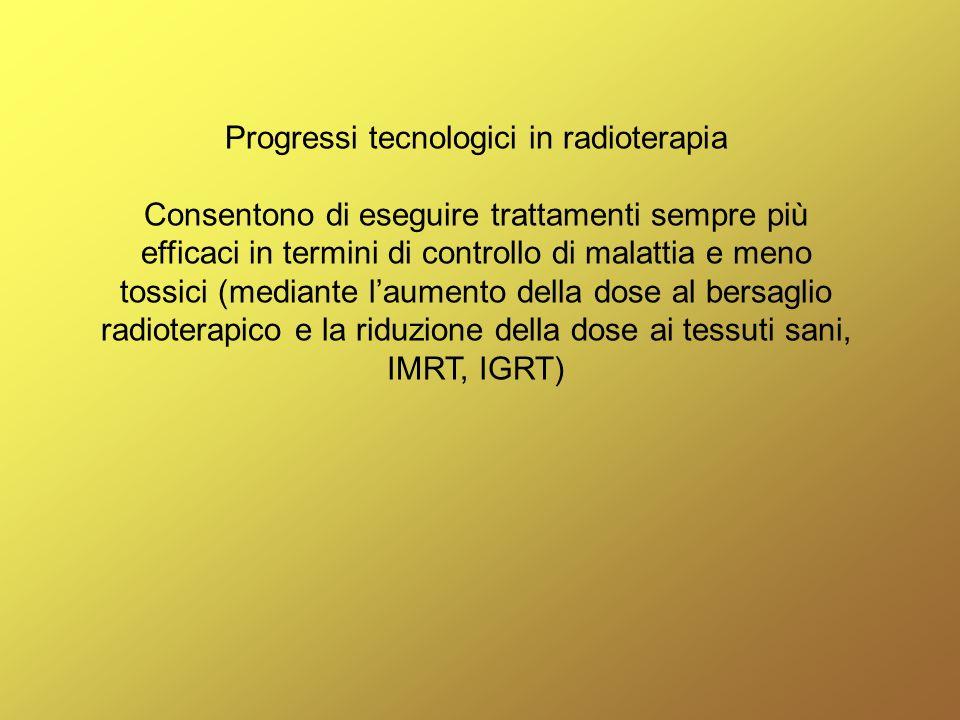 Progressi tecnologici in radioterapia Consentono di eseguire trattamenti sempre più efficaci in termini di controllo di malattia e meno tossici (media